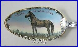Extremely Rare Pride of Kentucky Sterling Souvenir Spoon Enamel Horse Racing