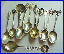 Fabulous Vintage Estate Hallmarked Lot Of 11 Silver Souvenir Tea Spoons # 19123