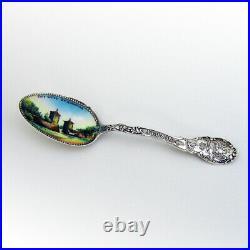 Florida Souvenir Spoon St Augustine Enamel Bowl Shepard Sterling Silver