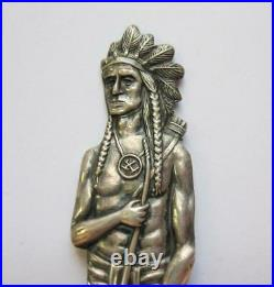 Full Figural 5 1/8 INDIAN CHIEF Duluth MN Sterling Silver Souvenir Spoon
