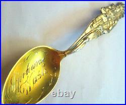 Full Figural 5 3/4 INDIAN Chief Spokane Wash. Sterling Silver Souvenir Spoon