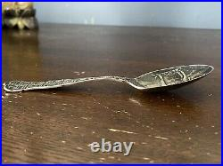 GREAT ANTIQUE STERLING SILVER WHIRLING LOG SWASTIKA SPOON C. 1910 Fine Detail