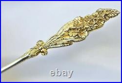 Gold Washed Enamel Mourning Sterling Silver Souvenir Spoon Forget Me Nots 1893