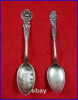 Group of 10 Antique Sterling Silver Spoons including Souvenir Spoons (#4641)