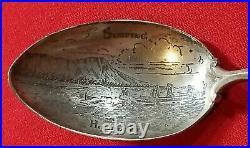 Hawaiian Souvenir Spoon Enamel Coat Of Arms Sterling Silver Surfing Mechanics