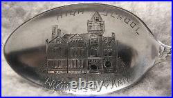 High School Arkansas City Kansas Sterling Silver Souvenir Spoon 1911