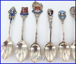 Job Lot Vintage Hallmarked English Sterling Silver Collector Souvenir Spoons