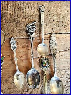 Large Vintage Sterling Silver Souvenir Spoon lot. 21 pieces. 227 grams. NOT SCRAP