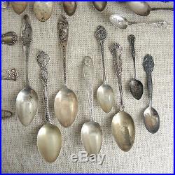 Lot 40 Sterling Silver Souvenir Spoons Antique California Oregon Mexico Boston