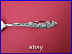 Lot 6 STERLING SILVER Ornate City & Buildings Cut-Outs Souvenir Spoons 105 gram