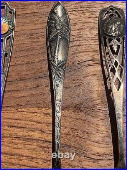Lot Of 11 Antique Sterling Souvenir Spoons