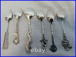 Lot Of 6 Sterling Silver Souvenir Collector Spoons 62.6 grams, 4 5/8