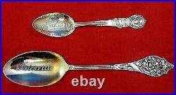 Lot of 10 Antique Sterling Silver Souvenir Spoons (#3650)