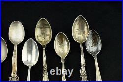 Lot of 10 Sterling Silver Souvenir Spoon Demitasse Art Nouveau Collection