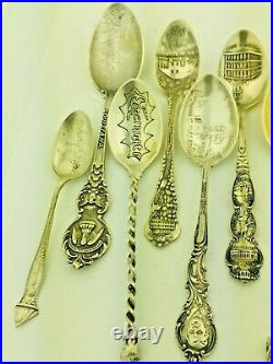 Lot of 11 Sterling Silver Souvenir Spoons