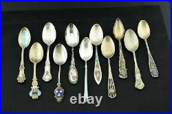Lot of 11 Vintage Sterling Silver Souvenir Enamel Spoons