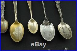Lot of 15 Antique Sterling Silver Pennsylvania PA Souvenir Spoon Collection