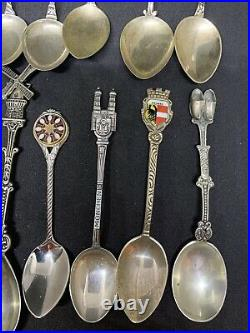 Lot of 15 Vintage Sterling Silver Collector Souvenir Spoons from Europe USA