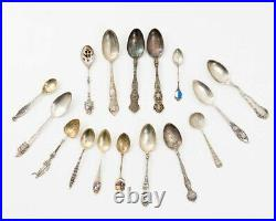 Lot of 16 Souvenir Spoons 11 Marked Sterling Silver 160 grams, 5 Unmarked