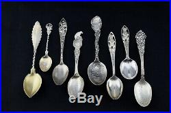 Lot of 8 Antique/Vintage Sterling US State National Parks Souvenir Spoons