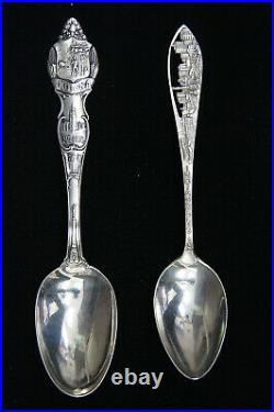 Lot of 9 Indiana State & City Sterling Silver Souvenir Collector Spoons B1982