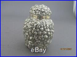 M. Knowles Repousse Sterling Silver Tea Caddy