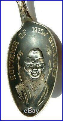 New Orlean 1900 Sterling & Enamel Watermelon African American Souvenir Spoon