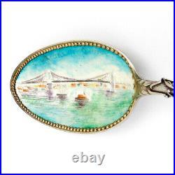 New York State Souvenir Spoon Enamel Bowl Shepard Sterling Silver