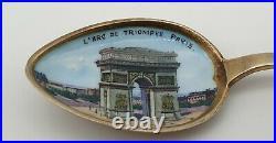 Nice Sterling Silver Arc De Triomphe Napoleon Enamel Souvenir Spoon Circa 1900
