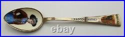 Nice Sterling Silver Enamel Portrait Bowl Souvenir Spoon Geneve Circa 1900
