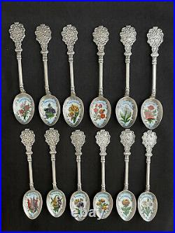 Oechsle Sterling Silver And Enamel Flower Calendar 5 Spoon Collection Germany