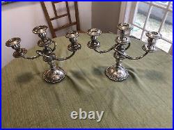 Pair of Fisher Sterling Silver English Rose 3 Light Candelabras Candle Sticks