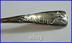 Pair of Sterling Salem Witch, Daniel Lowe Souvenir Spoons