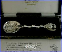 RARE CASED STERLING SILVER 92g WELSH DRAGON PRINCE CARLES SPOON 1969 INVESTITURE