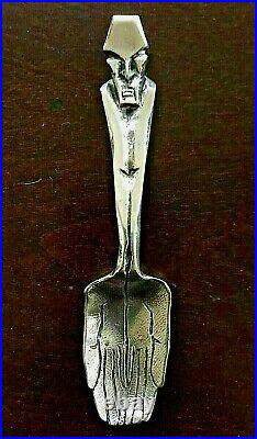 RARE STUNNING FIGURAL Skull STERLING SILVER Souvenir Spoon