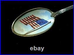 Rare Antique Gorham Sterling New York Enamelled American Flag Souvenir Spoon