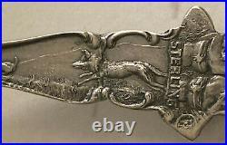 Rare Antique Sterling Silver Souvenir Spoon Houston Texas Full Size Cowboy & Gun