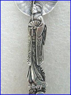 Rare Antique Sterling Silver Souvenir spoon Japanese Geisha Umbrella & Music