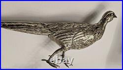 Rare Estate Pair- Antique European Sterling Silver Pheasants Birds Repoussé 925