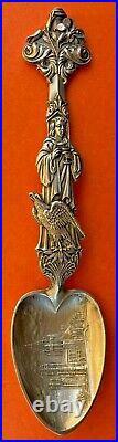 Rare Figural Saint John Divine Cathedral Sterling Silver Souvenir Spoon Shiebler