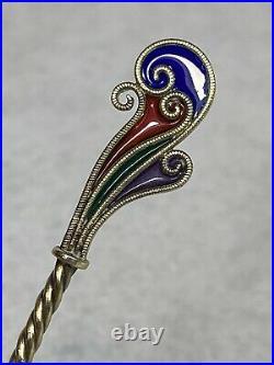 Rare Sterling Plique-a-Jour Devil Souvenir Spoon With Picture in bowl Gold Wash