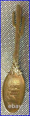 Rare Sterling Silver Figural Gorham Casa Grande Ruins, AZ. Cactus Souvenir Spoon