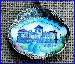 Rare! Sterling Souvenir Spoon Enamel Bowl Windsor Hotel Jacksonville, Fla