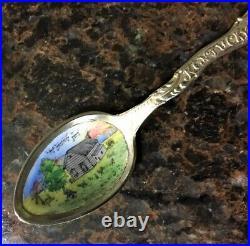 Rare Vtgold Kentucky Homesterling Silver Enamel Souvenir Spoon By Shepard