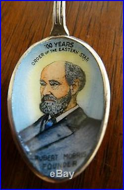Robert Morris Founder Sterling Silver & Enamel Eastern Star Souvenir Spoon