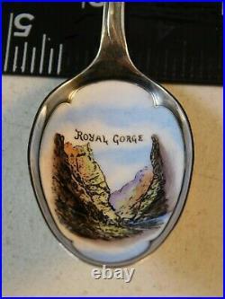 Royal Gorge Enamel Painted Bowl Sterling Spoon Baker Manchester Mfg Co