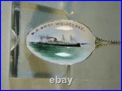 S. S. Graf Waldersee Cruise Ship Hamburg America Line Sterling Enamel Bowl Spoon