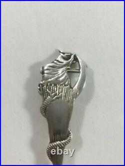 SALEM MA Witch Cat Sterling Silver Daniel Low 5 7/8 Souvenir Spoon 1692