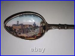 SILVER SPOON, Antique sterling with enamel from Foro Romano, Roma ITALY