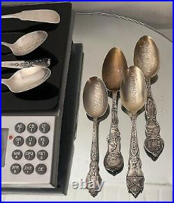 STERLING. 925 SILVER Scrap 8 Spoons Souvenir Resealable LOT 163 Grams